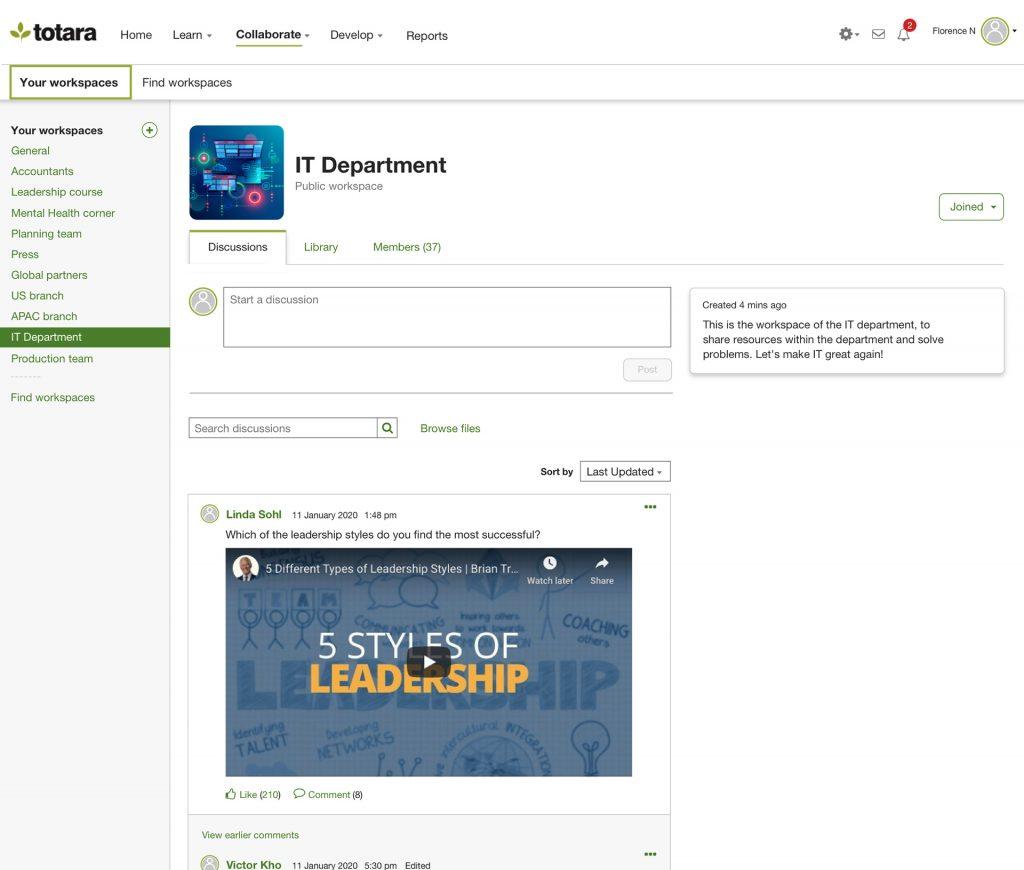 Totara Engage bringt Teams in virtuellen Räumen zusammen