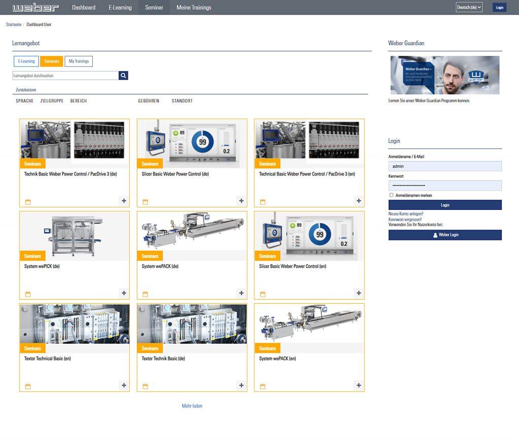 Ein für Weber Maschinenbau speziell implementierte Totara-Lernplattform von kamedia interactive